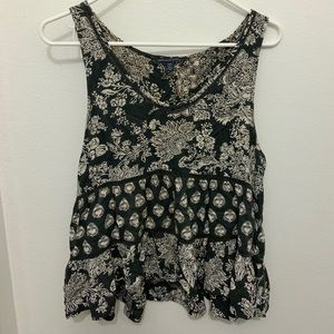 American Eagle Grey & Cream Floral Tank Top